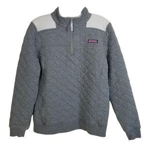 VINEYARD VINES Gray Quilted 1/4 Zip Shep Shirt M